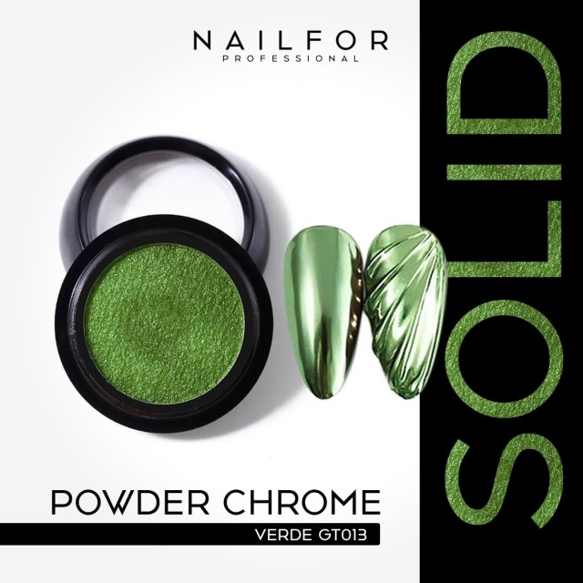 POWDER SOLID CHROME COMPACT GREEN GT013